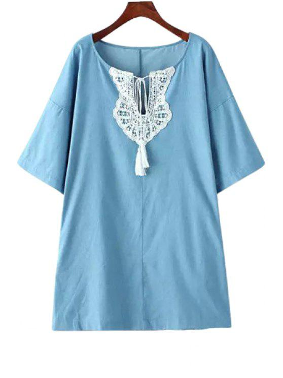 trendy Half Sleeve Lace Spliced Lace-Up Denim Dress - LIGHT BLUE M