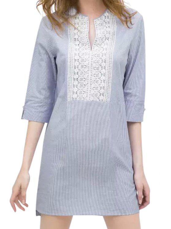 buy Lace Splicing Crochet Flower Denim Dress - LIGHT BLUE M