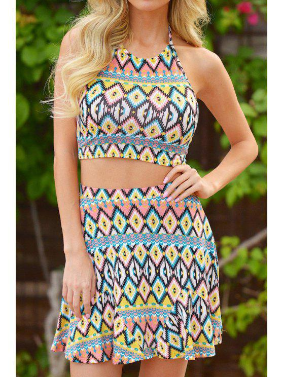 women Halter Crop Top and Argyle Print Skirt Suit - BLUE AND YELLOW S