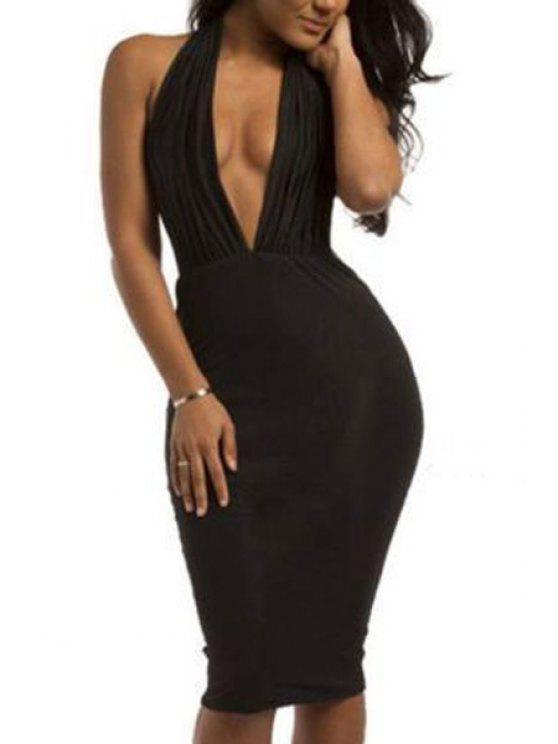 women Black Plunging Neck Sleeveless Midi Dress - BLACK S