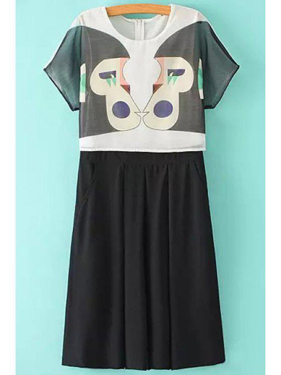 women Spliced Monkey Pattern Faux Twinset Dress - BLACK S