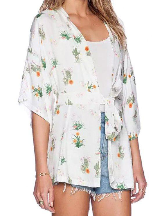fancy Collarless Floral Print Tie-Up Blouse - WHITE M