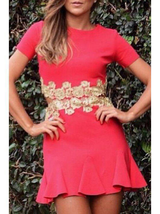 shops Waist Cut Out Floral Splicing Short Sleeve Dress - RED S