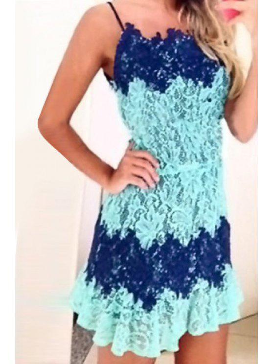 lady Spaghetti Strap Color Block Lace Splicing Dress - LIGHT BLUE S