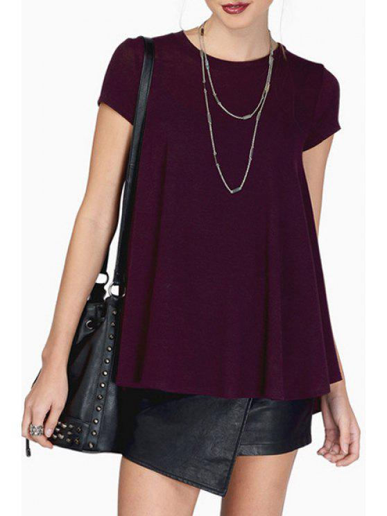 online Solid Color Short Sleeve Loose-Fitting T-Shirt - PURPLISH RED S
