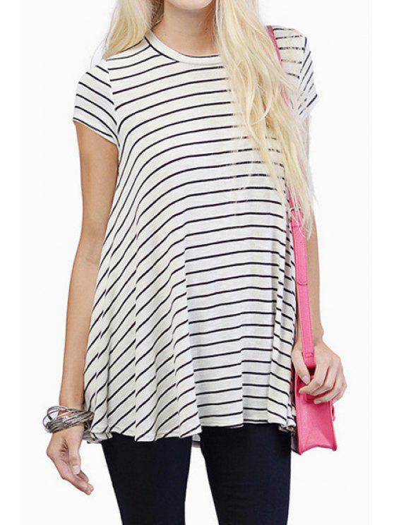 chic Stripe Short Sleeve Loose-Fitting T-Shirt - STRIPE S
