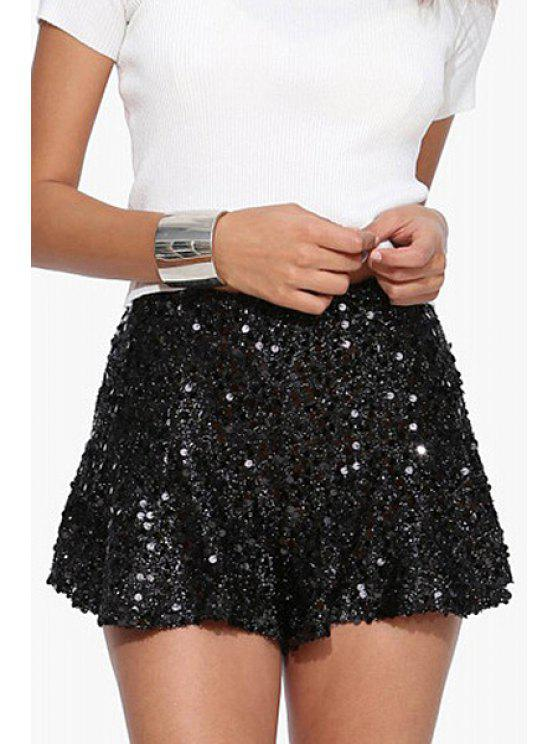 fashion Sequins Wide Leg Shorts - BLACK S