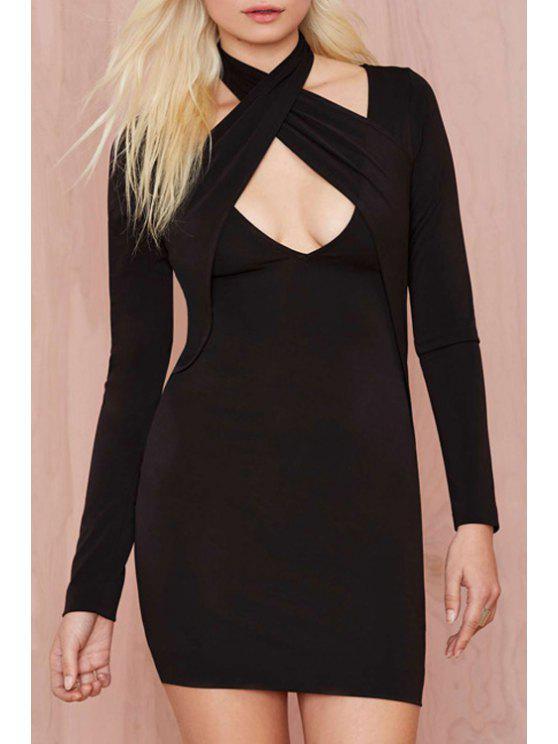 hot Black Halter Long Sleeve Bodycon Dress - BLACK S