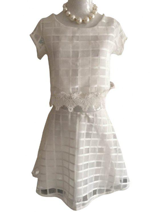 affordable Solid Color Plaid Short Sleeve T-Shirt + Skirt - WHITE S