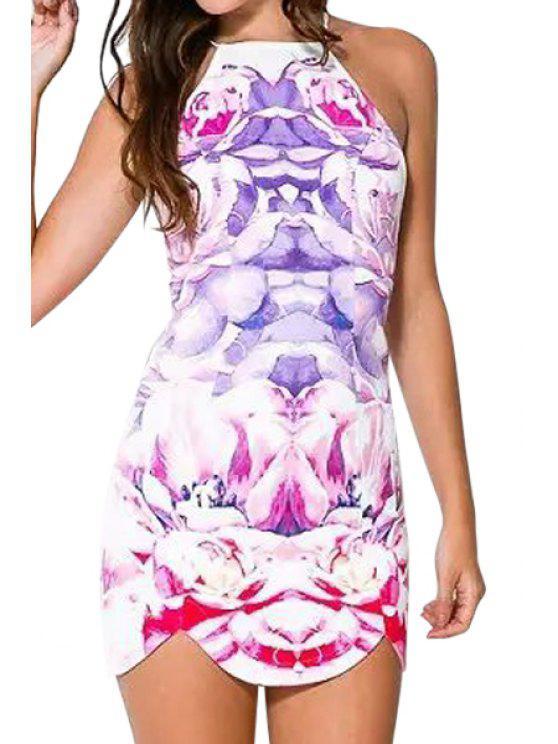 trendy Spaghetti Strap Floral Print Criss-Cross Bodycon Dress - WHITE M