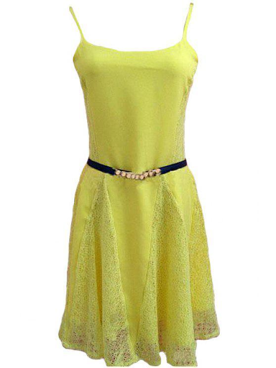 unique Spaghetti Strap Yellow Lace Splicing Sleeveless Dress - YELLOW S