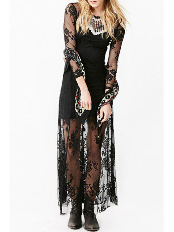 fancy Black Lace Nine-Minute Sleeve Dress - BLACK S