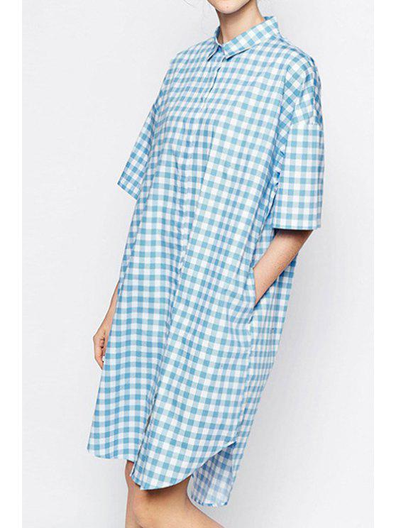 outfit Checked Shirt Neck Half Sleeve Dress - CHECKED S