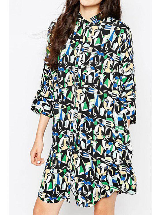 online Abstract Print 3/4 Sleeve Shirt Dress - BLACK S