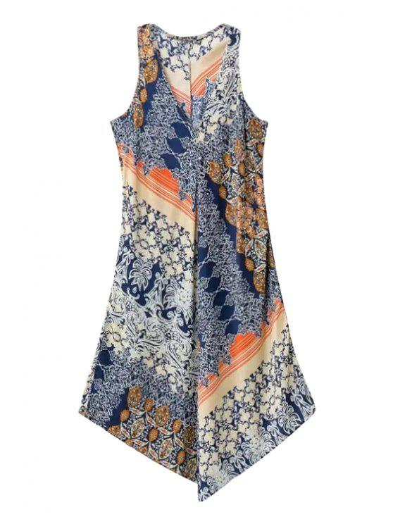 fancy Ethnic Print Irregular Hem Midi Dress - COLORMIX S