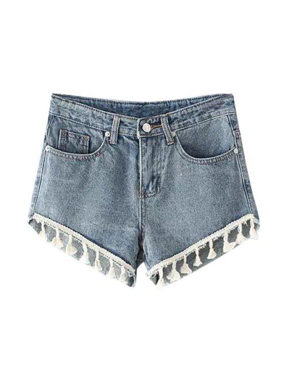 womens Straight Leg Bleach Wash Denim Laciness Shorts - LIGHT BLUE S