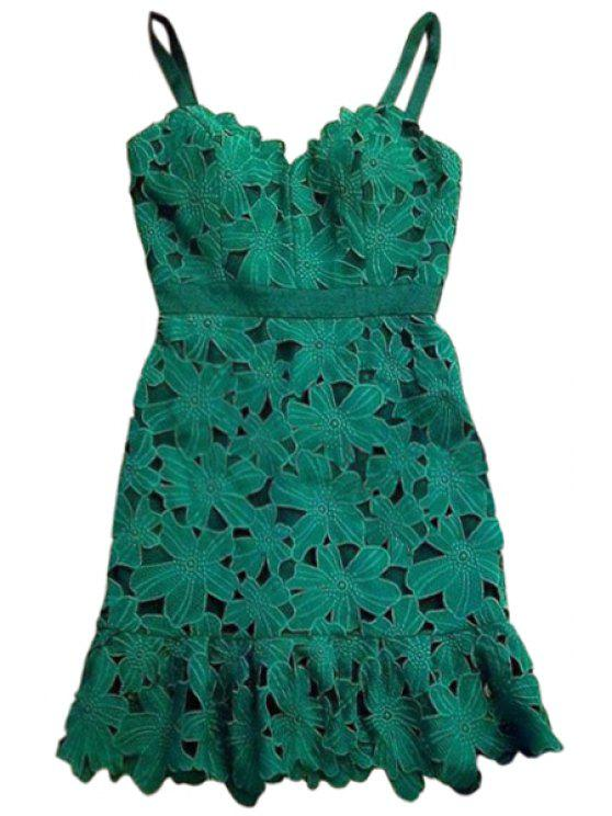 shop Spaghetti Strap Green Floral Pattern Sleeveless Dress - GREEN S