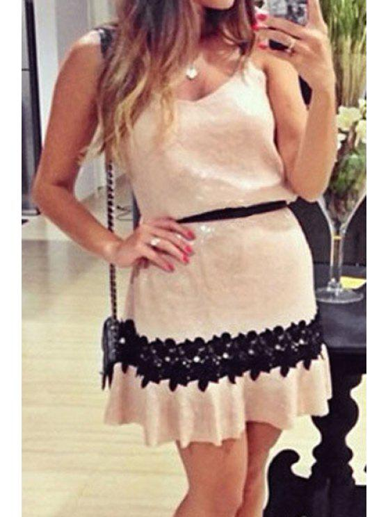 online Spaghetti Strap Black Floral Lace Splicing Dress - OFF-WHITE S