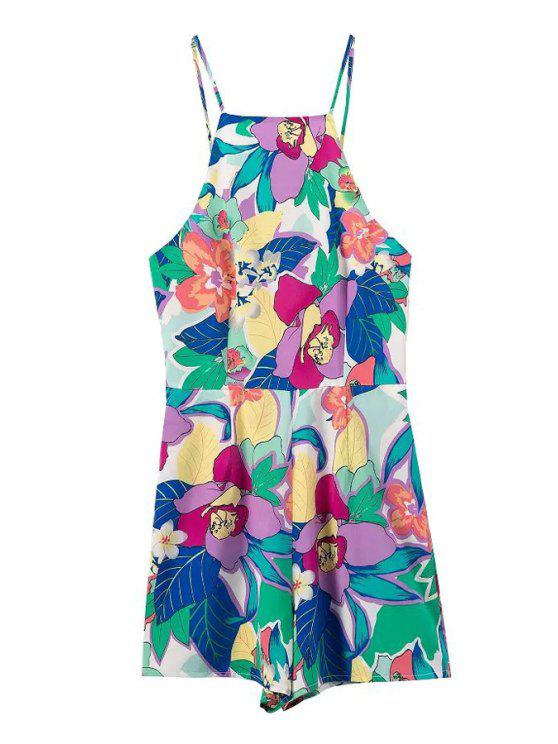 new Spaghetti Strap Floral Print Open Back Playsuit - COLORMIX S