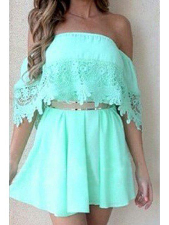 unique Off-The-Shoulder Lace Splicing Short Sleeve Dress - GREEN S