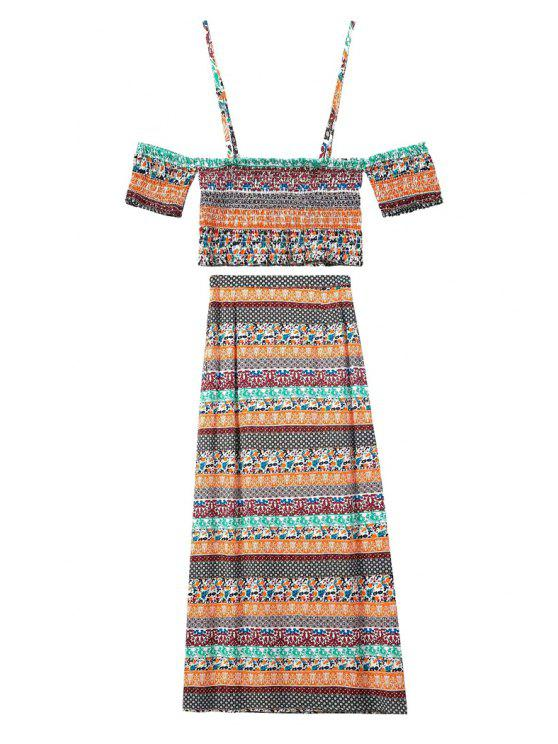 outfit Spaghetti Strap Crop Top + Printed Maxi Skirt Twinset - COLORMIX S