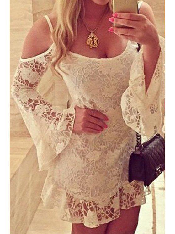 women Spaghetti Strap Floral Pattern Lace Long Sleeve Dress - WHITE S
