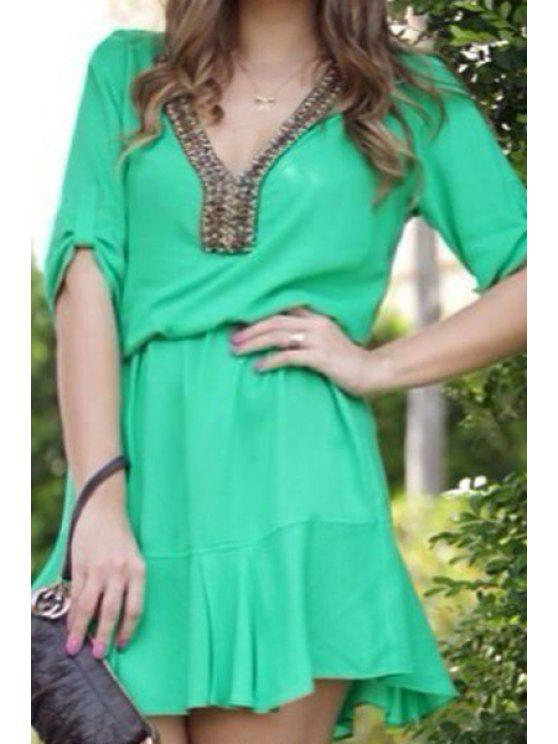 trendy V-Neck Splicing Green Half Sleeve Dress - GREEN M