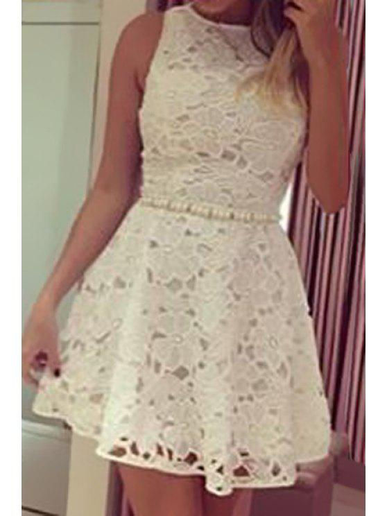 lady Backless Floral Pattern Sleeveless Dress - WHITE S
