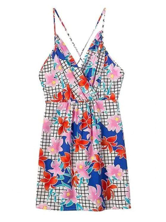 womens Spaghetti Strap Floral Print Plaid Criss-Cross Dress - COLORMIX S