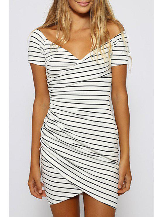 unique Striped White Short Sleeve Bodycon Dress - STRIPE S