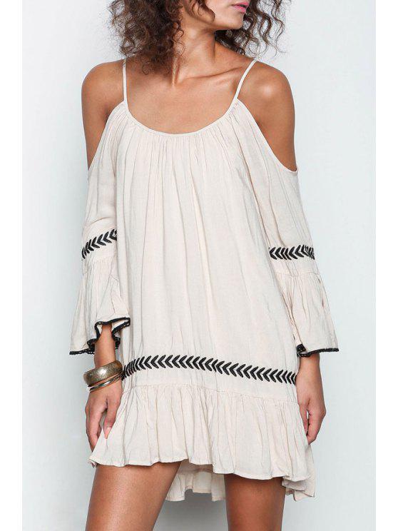 womens Apricot Off The Shoulder Spaghetti Strap Embroidered Dress - MILK WHITE S