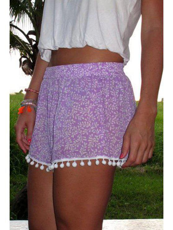 fancy Floral Print Irregular Hem Laciness Purple Shorts - PURPLE S