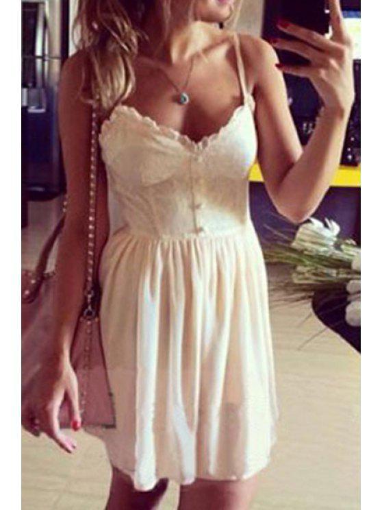 lady Lace Splicing Spaghetti Strap Solid Color Dress - WHITE S