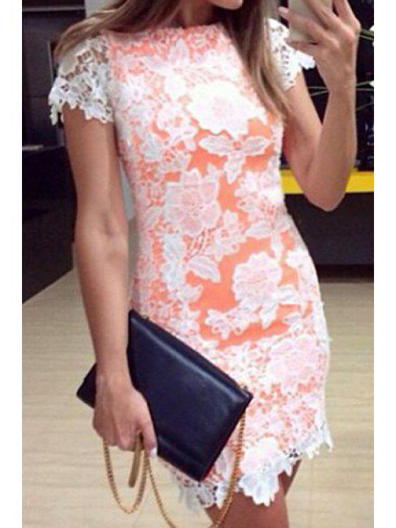 latest Floral Lace Splicing Short Sleeve Dress - WHITE S