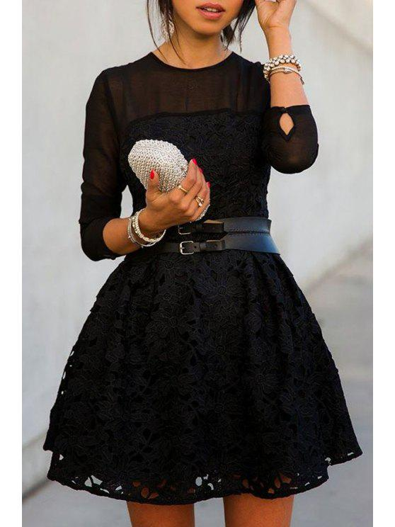 sale See-Through Solid Color Lace Long Sleeve Dress - BLACK S