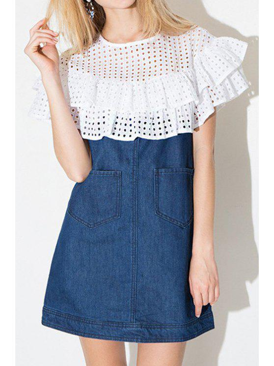 ladies Ruffles Spliced Denim Dress - BLUE AND WHITE S