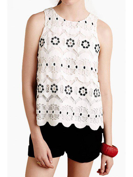 women Hollow Lace Round Neck Tank Top - WHITE S