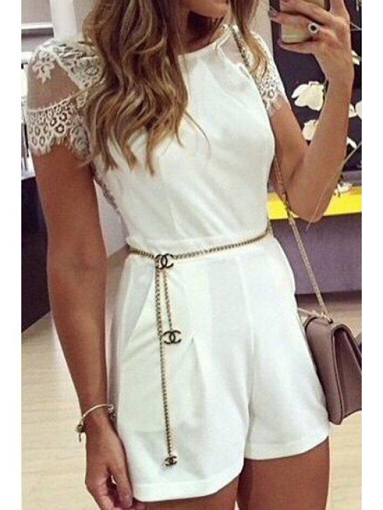 womens See-Through Lace Splicing Short Sleeve Romper - WHITE S
