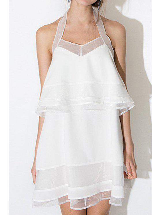 lady White Halter Voile Backless Dress - WHITE 2XL