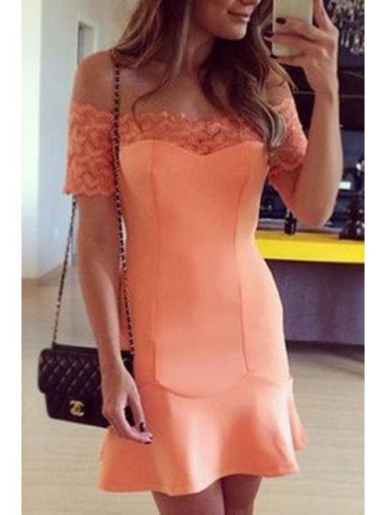 ladies Slash Neck Lace Splicing Short Sleeve Dress - ORANGE S
