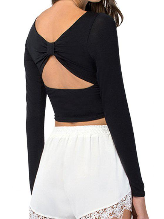 lady Hollow Backless Long Sleeve Crop Top - BLACK L