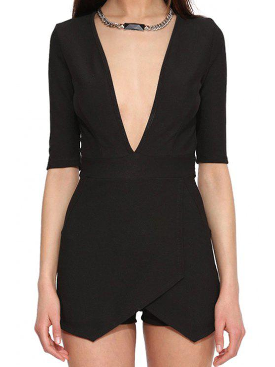best Black Plunging Neck Half Sleeve Romper - BLACK L