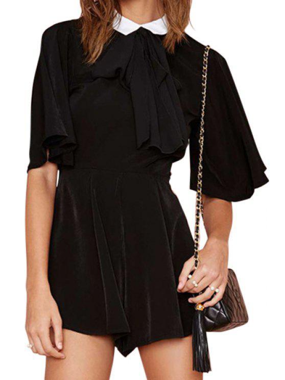 fashion Color Block Turn-Down Collar Romper - BLACK L