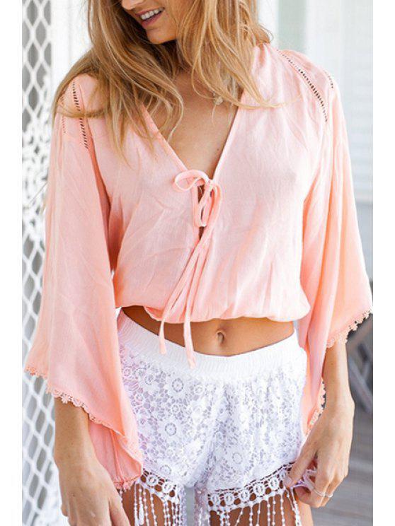 shop V-Neck Half Sleeve Lace-Up Pink Crop Top - PINK S
