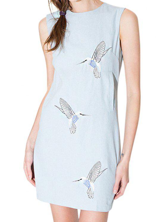 outfit Bird Embroidery Sleeveless Dress - LIGHT BLUE S