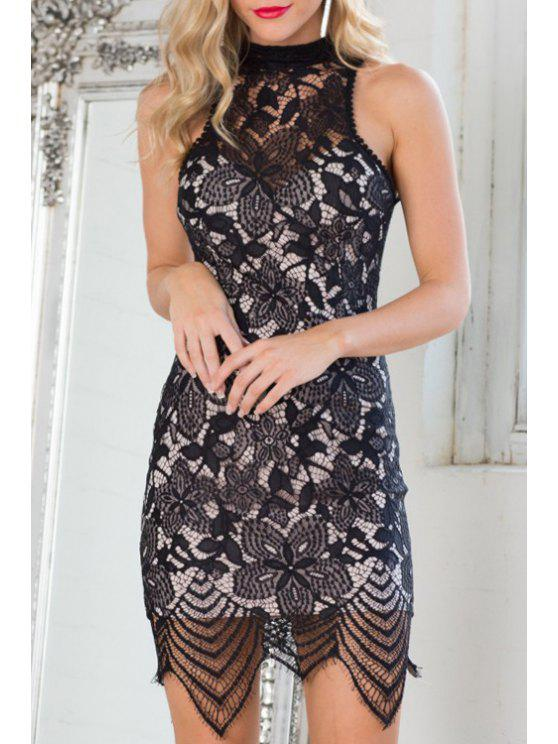 shop Solid Color Open Back Lace Spliced Dress - BLACK S