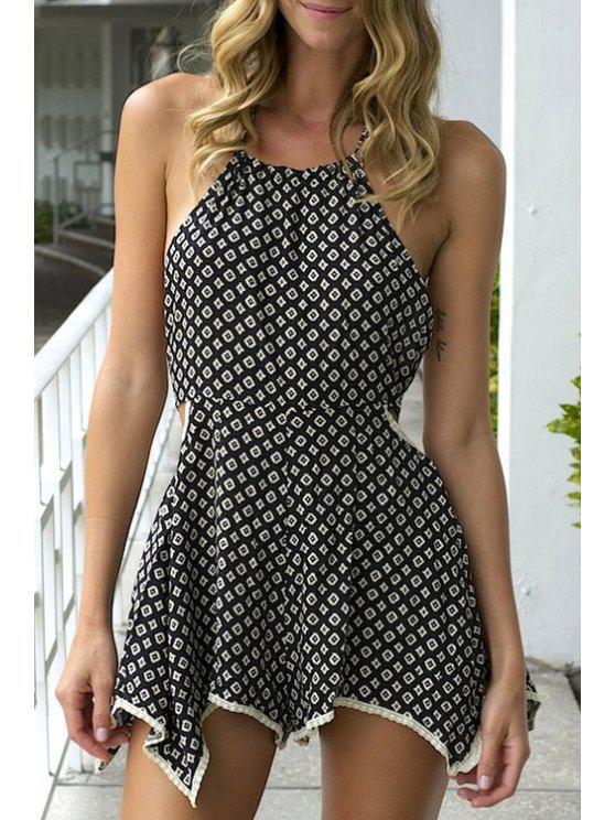 new Halter Neck Tie-Up Argyle Pattern Romper - BLACK S