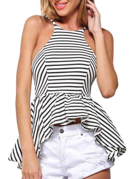 lady Spaghetti Strap Striped Open Back Swallow-Tailed Tank Top - WHITE S