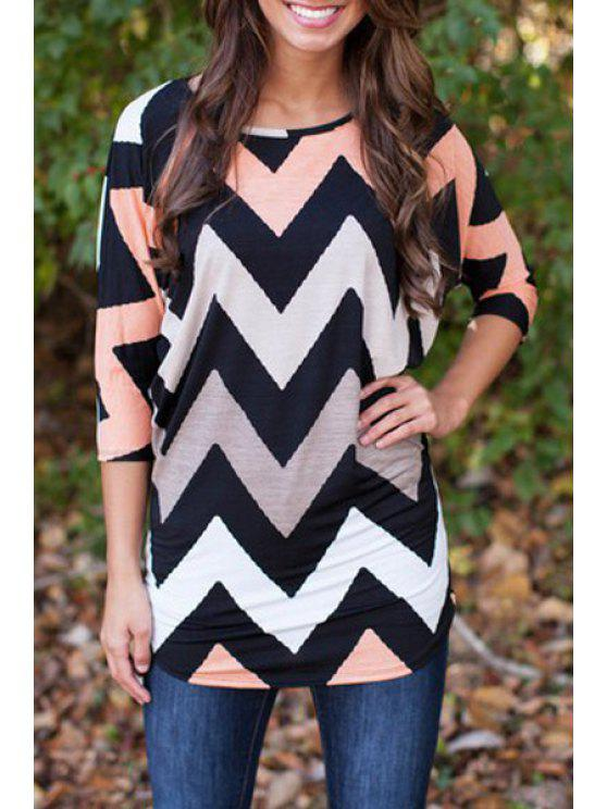 lady Zig Zag Print 3/4 Sleeve T-Shirt - BLACK S