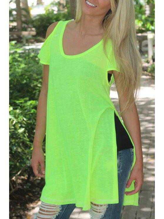 buy Side Slit Solid Color Hollow Out T-Shirt - GREEN S